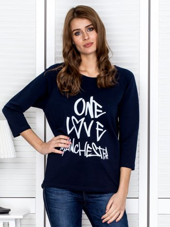 Granatowa bluzka z napisem ONE LOVE