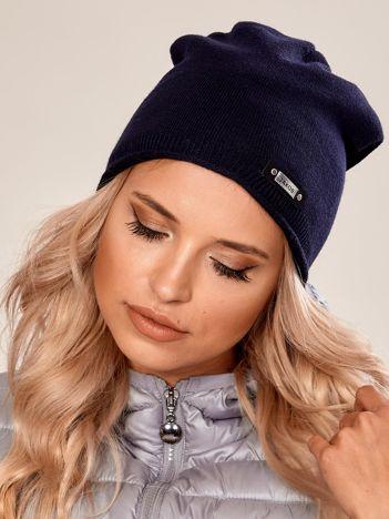 Granatowa damska czapka beanie