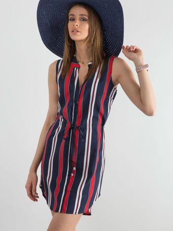 Granatowa damska sukienka w paski