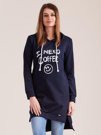 Granatowa długa bluza z kapturem I NEED COFFEE