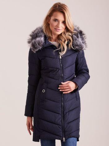 Granatowa długa kurtka na zimę