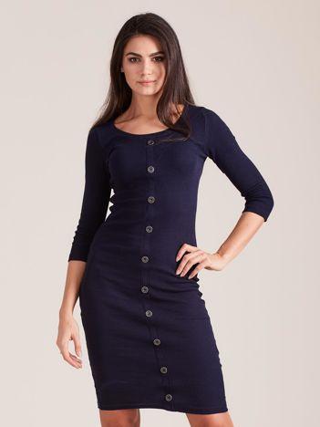 Granatowa dopasowana prążkowana sukienka