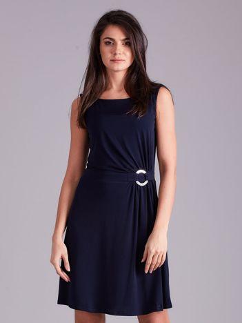 Granatowa drapowana elegancka sukienka