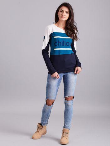 Granatowa-ecru bluza bawełniana z napisem