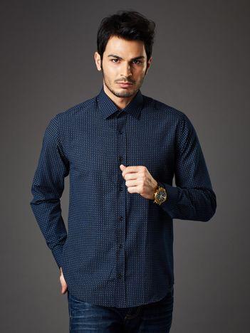 Granatowa koszula męska o prostym kroju w drobny wzór