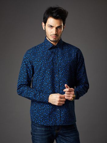 Granatowa koszula męska regular fit w roślinny wzór