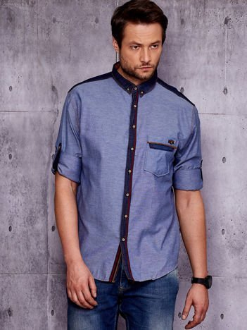 Granatowa koszula męska w delikatny deseń