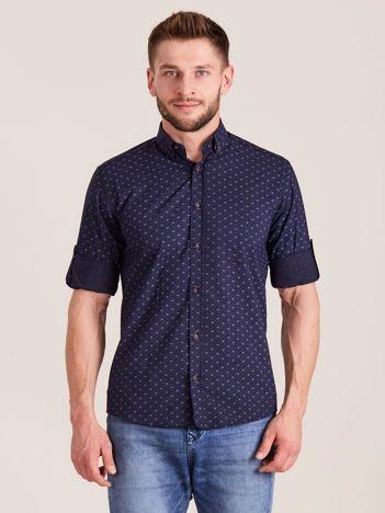 Granatowa koszula męska w drobne wzory