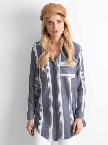 Granatowa koszula w paski