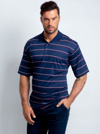 Granatowa koszulka męska polo plus size Showup