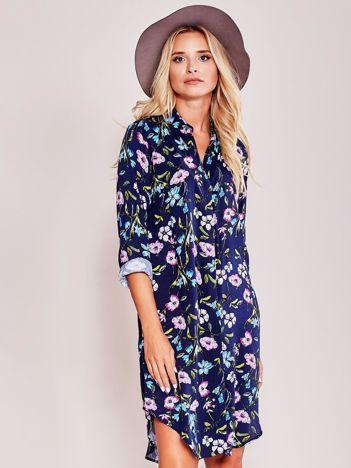 Granatowa koszulowa sukienka w kwiaty