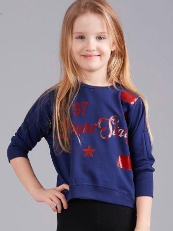 Granatowa krótka bluza z nadrukiem dla dziewczynki