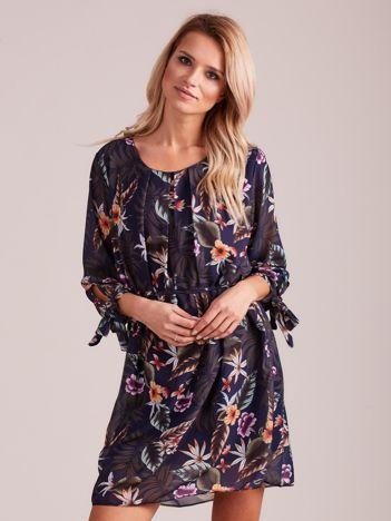 Granatowa kwiatowa sukienka damska