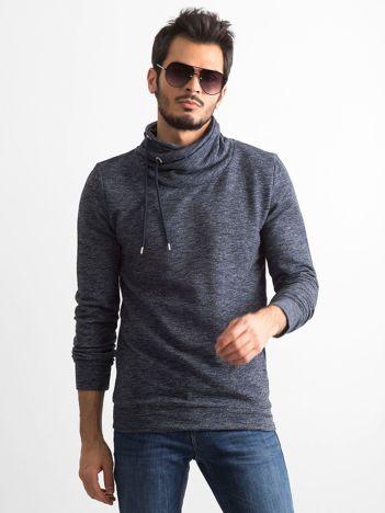 Granatowa melanżowa bluza męska z kominowym kołnierzem