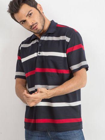 Granatowa męska koszulka polo Switch