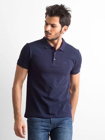 Granatowa męska koszulka polo z bawełny
