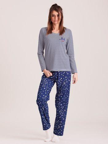 Granatowa piżama damska bawełniana