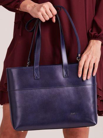 Granatowa skórzana torba shopper bag