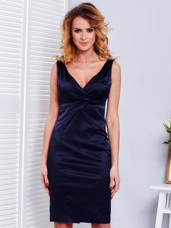 Granatowa sukienka V-neck
