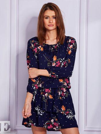 Granatowa sukienka damska floral print