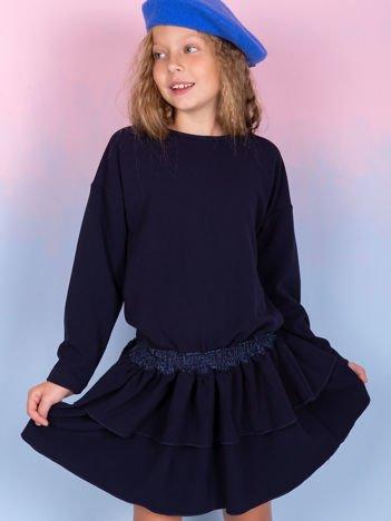 Granatowa sukienka dla dziewczynki z falbanami