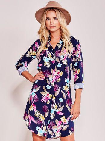 Granatowa sukienka koszulowa we wzory