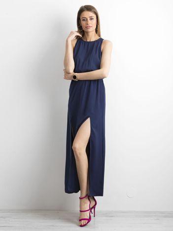 cae82e94ff Granatowa sukienka maxi z rozcięciami
