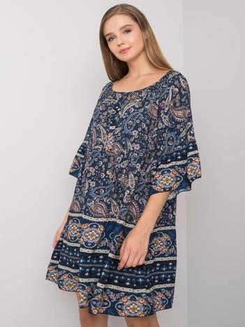 Granatowa sukienka oversize we wzory Aubrey OCH BELLA