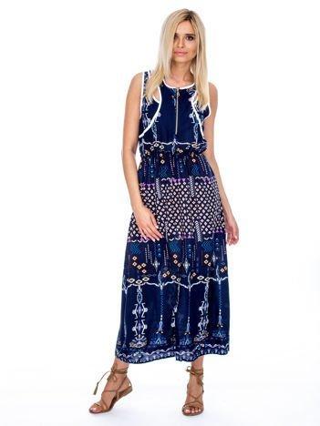 Granatowa sukienka w etniczne wzory z suwakiem