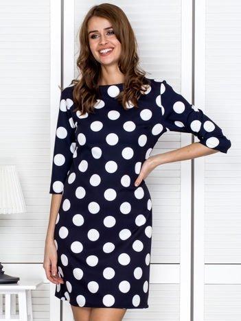 Granatowa sukienka w grochy