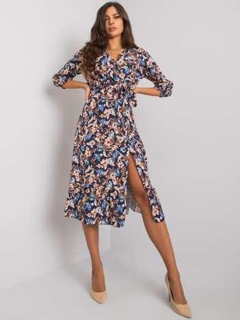Granatowa sukienka w kwiaty Skylar RUE PARIS