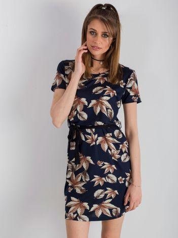 Granatowa sukienka z nadrukiem
