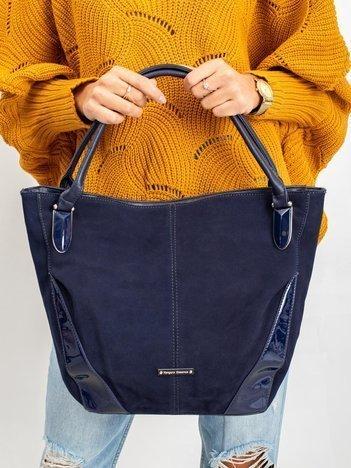 Granatowa torba z lakierowanymi wstawkami
