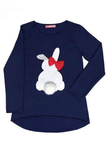 Granatowa tunika dla dziewczynki z króliczkiem