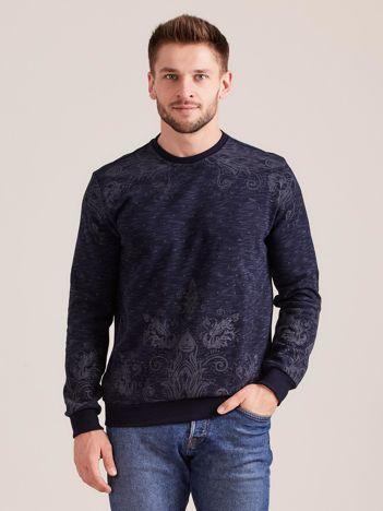 Granatowa wzorzysta bluza męska
