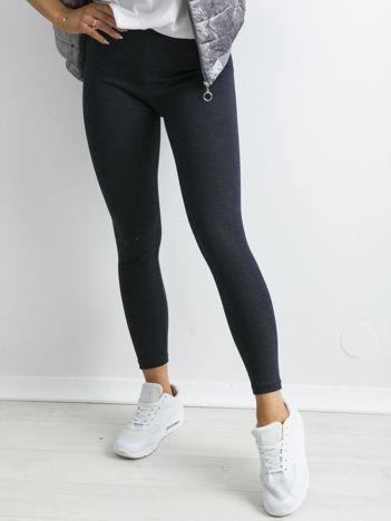Granatowe bawełniane legginsy z drobinkami