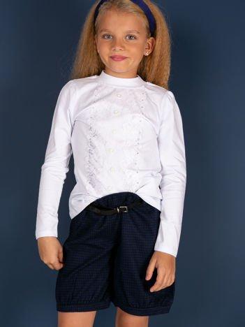 Granatowe bawełniane szorty dla dziewczynki w pepitkę