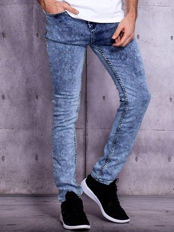Granatowe dekatyzowane spodnie jeansowe męskie