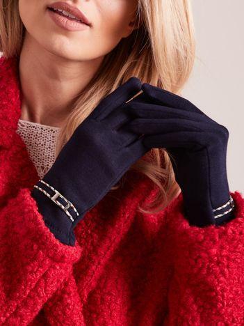 Granatowe klasyczne rękawiczki z klamerką