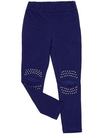 Granatowe legginsy dla dziewczynki z siateczkową wstawką