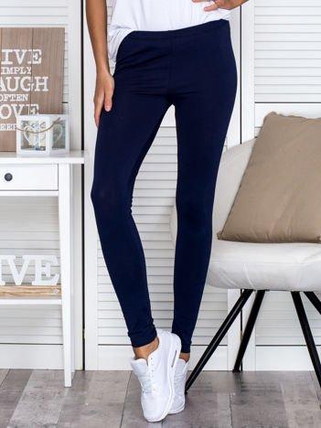 Granatowe legginsy gładkie