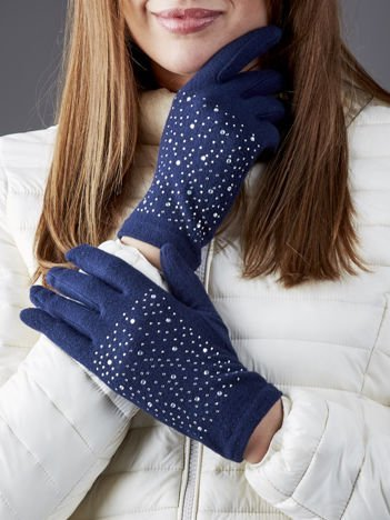 Granatowe rękawiczki z dżetami