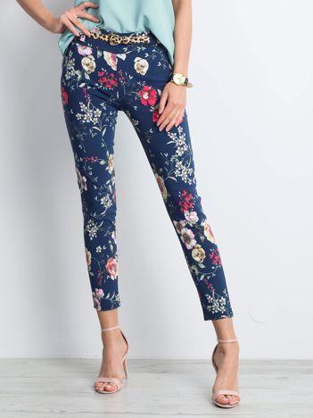 Granatowe spodnie Flowery
