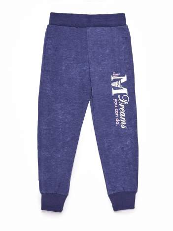 Granatowe spodnie dresowe dla dziewczynki z nadrukiem