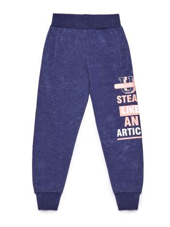 Granatowe spodnie dresowe dla dziewczynki z tekstowym nadrukiem
