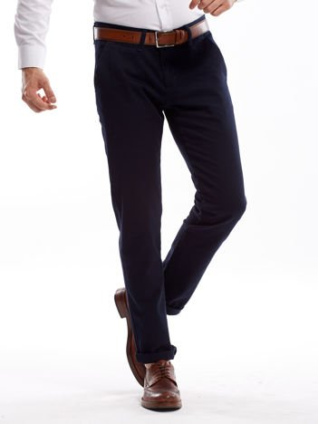 Granatowe spodnie męskie chinosy o prostym kroju