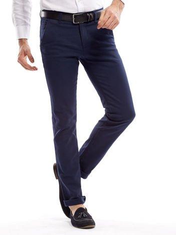 Granatowe spodnie męskie slim fit