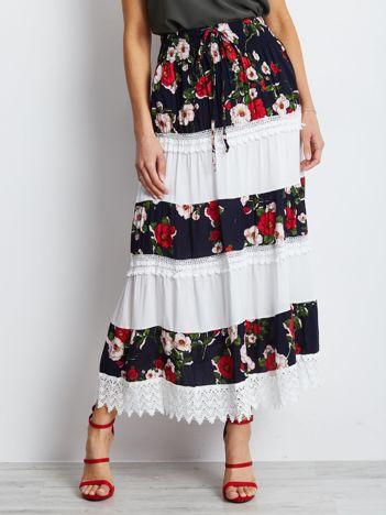 Granatowo-biała spódnica Breakout