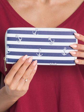 Granatowo-biały damski portfel