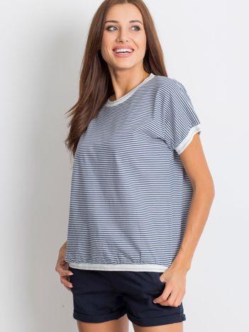 Granatowo-biały t-shirt Swanky